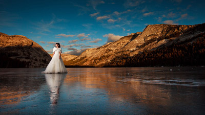 Wedding on frozen Tenaya Lake