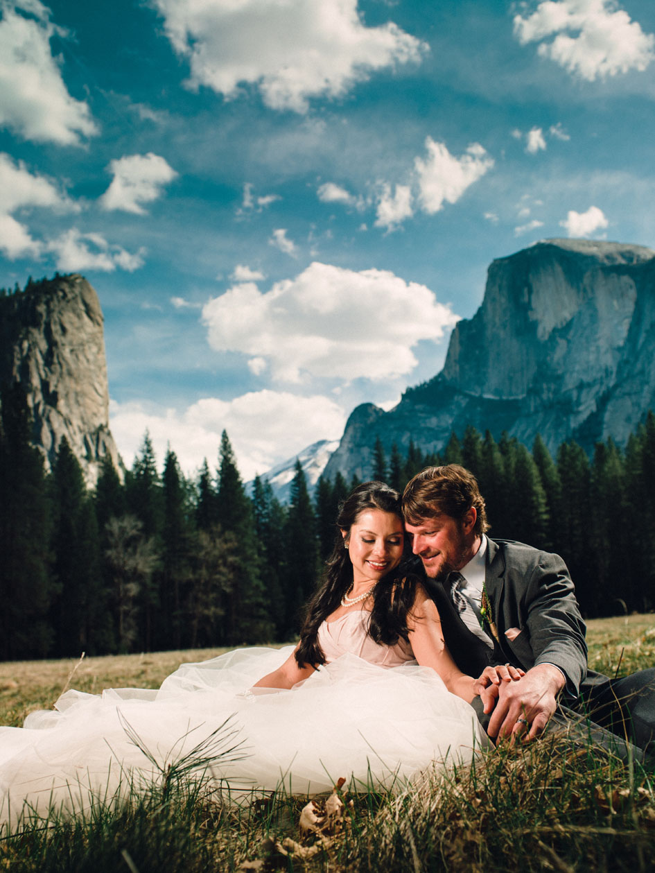 Yosemite Wedding in meadow with Half Dome