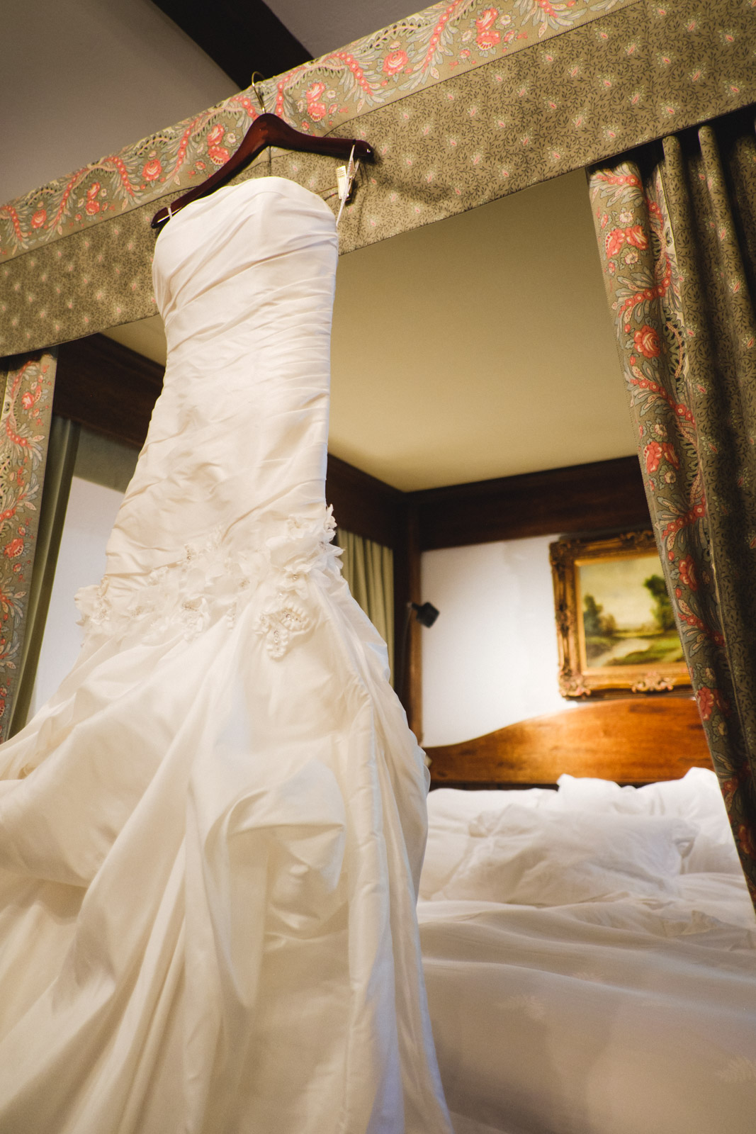 Wedding dress at Chateau du Sureau