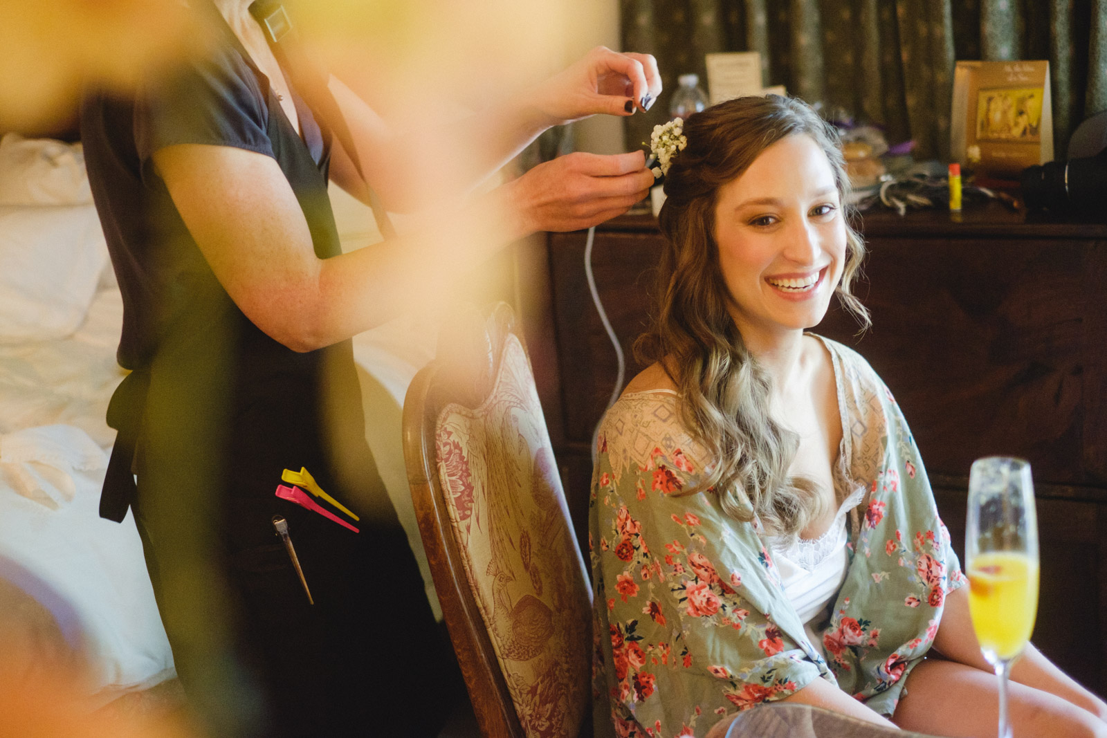 Bridal preparations at Chateau du Sureau