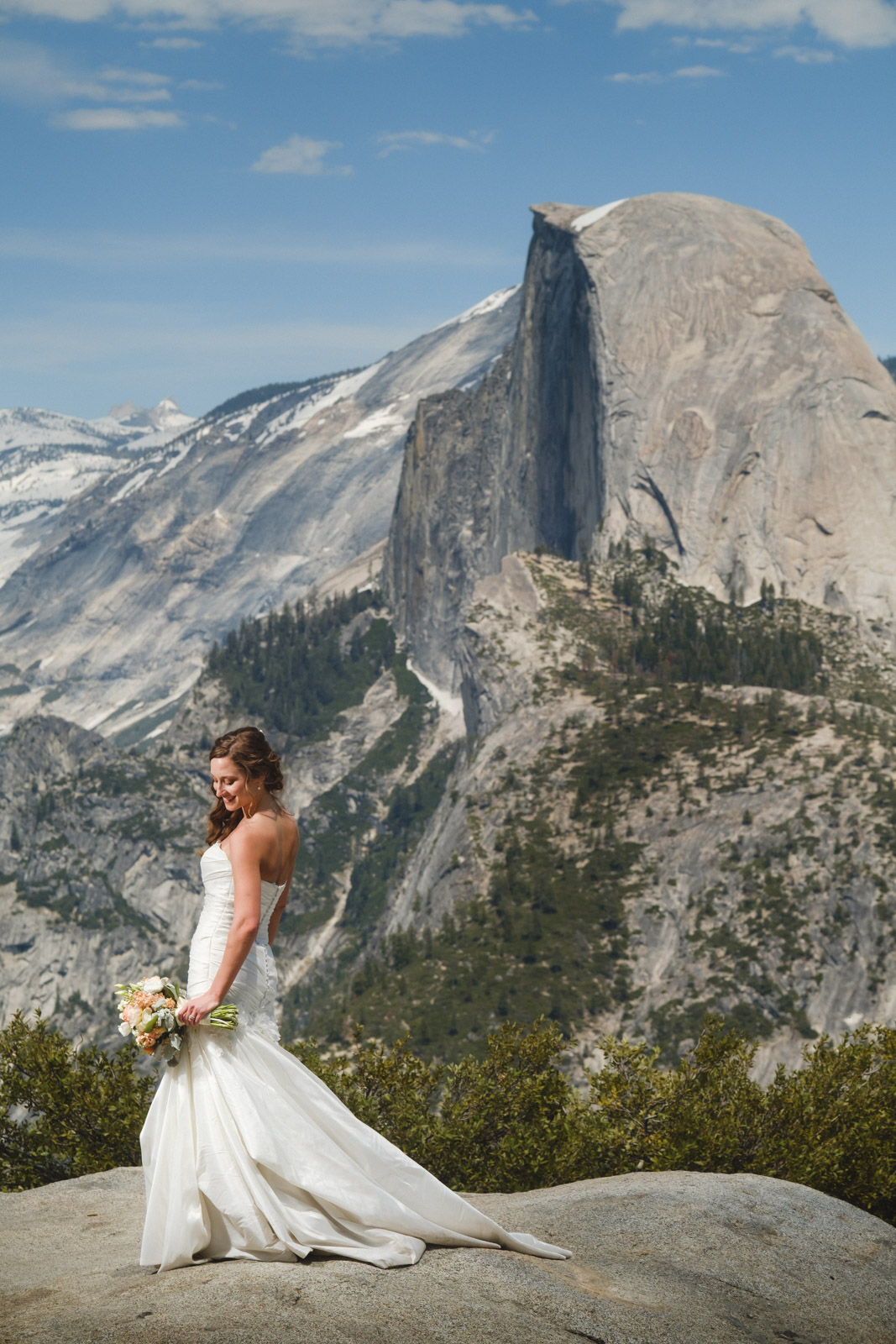 Bride at Glacier Point with Half Dome